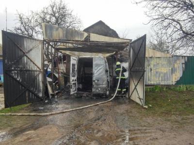 На Буковині через коротке замкнення спалахнув гараж: вогонь знищив бус і мотоблок