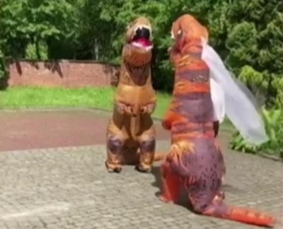У Львові до РАЦСу прийшла оригінальна пара — у костюмах тиранозаврів