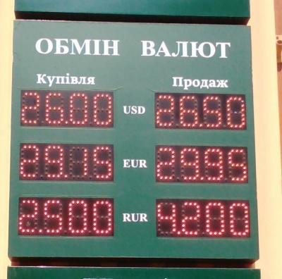Курс валют у Чернівцях на 24 червня