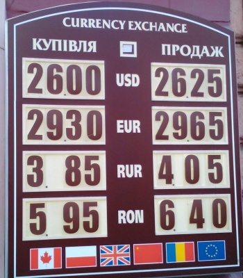 Курс валют у Чернівцях на 26 червня
