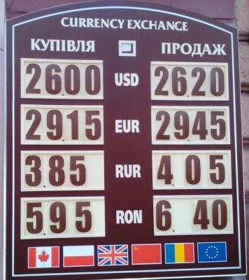 Курс валют у Чернівцях на 2 липня