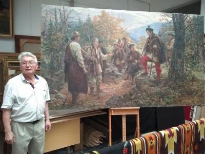 У Чернівецькому художньому музеї почали реставрацію величезної картини про Довбуша