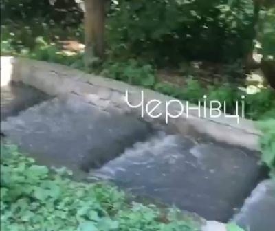 Новий фонтан у Чернівцях: у спальному районі прорвало каналізацію - відео