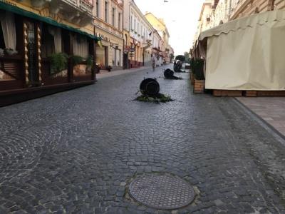 Вандалізм у центрі Чернівців: на Кобилянській перевернули термочаші з вазонами