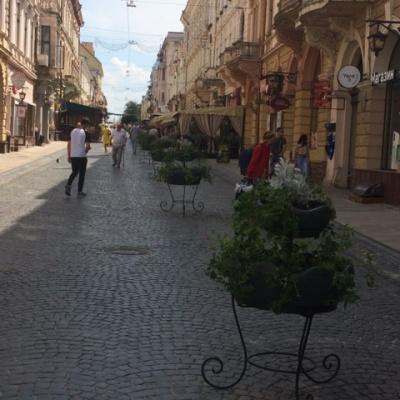 У Чернівцях на пішохідній вулиці відновили понищені вандалом термочаші
