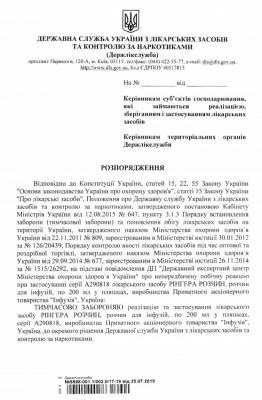 В Україні заборонили популярний антисептик та розчин для ін'єкцій