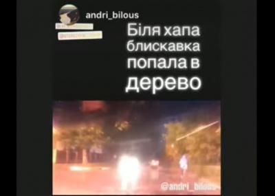 Блискавка влучила в дерево у Сторожинці: очевидець зняв відео під час негоди
