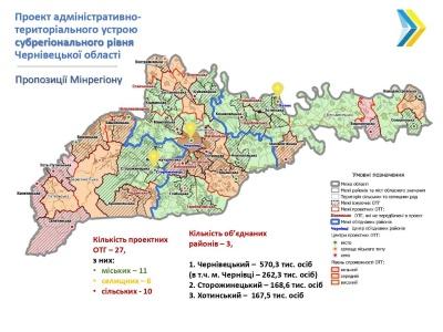 Скорочення районів Буковини: в уряді показали проект нового поділу