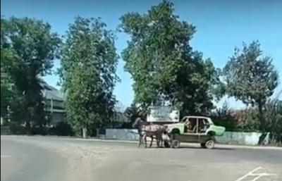 «Жигули» на лошадях: на в  съезде в Черновцы заметили чудо-транспорт - видео