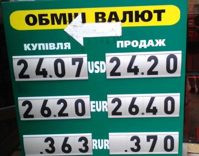 Курс валют у Чернівцях на 30 вересня