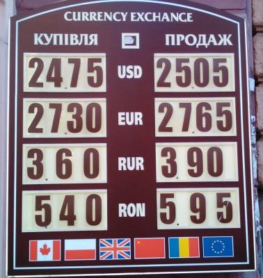 Курс валют у Чернівцях на 18 жовтня