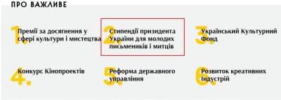 На новому сайті мінкультури слово «президент» написали з помилкою