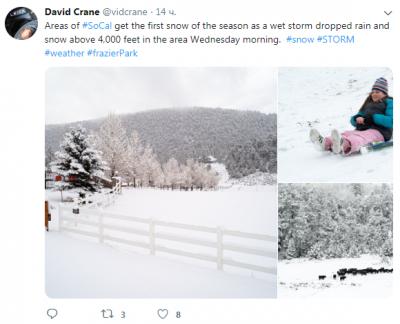 Сонячну Каліфорнію неочікувано засипало снігом: вражаючі фото