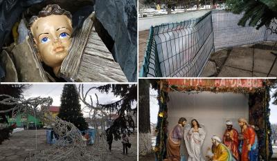 Вночі у Заставні вандали знищили Різдвяний вертеп і декор біля ялинки - відео