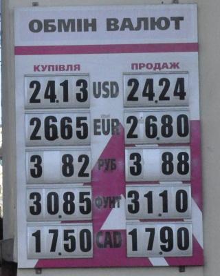 Курс валют у Чернівцях на 21 січня