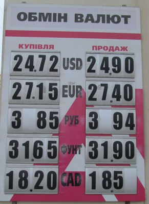Курс валют у Чернівцях на 30 січня