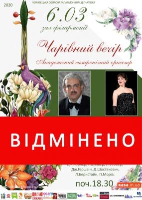 Чернівецька філармонія скасувала два концерти через карантин