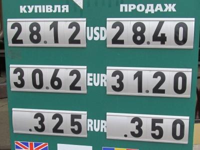 Курс валют у Чернівцях на 30 березня