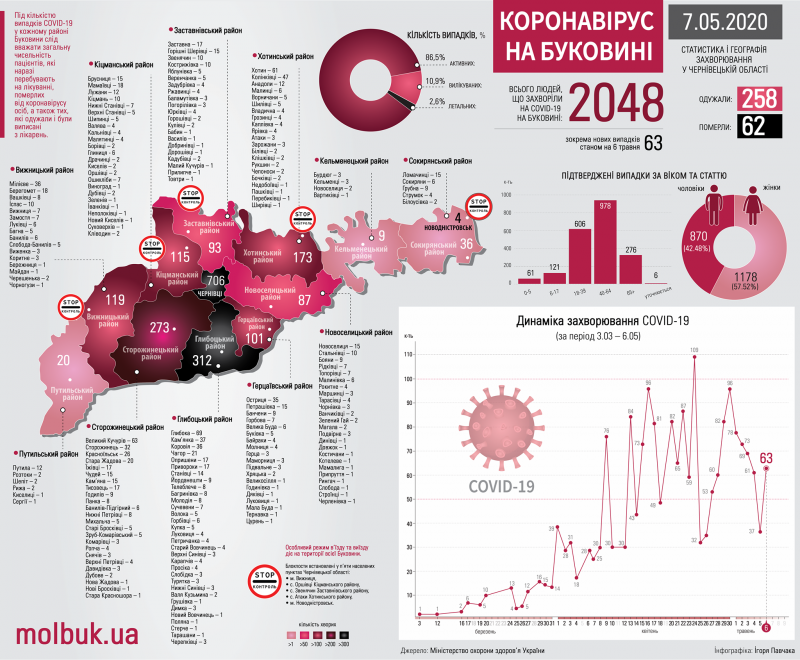 Як COVID-19 шириться Буковиною: всі села і міста, де виявили хворобу
