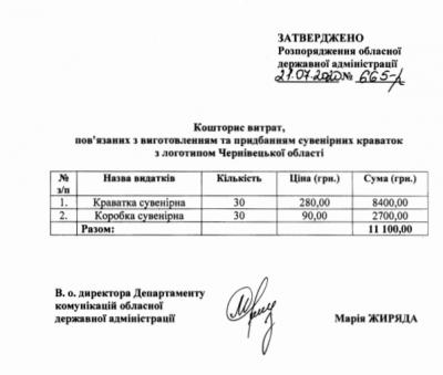 В Осачука замовили сувенірні краватки з логотипом Чернівецької області