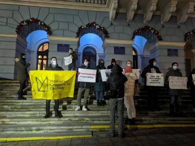 «Нам не потрібен такий міністр»: у центрі Чернівців студенти пікетували через призначення Шкарлета главою МОНу