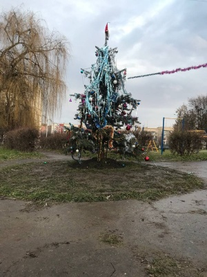 Мешканці бульвару Героїв Крут самі організували собі новорічну ялинку - фото