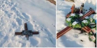 Поламали хрести, порозбивали лампадки: на Буковині вандали розтрощили могили на цвинтарі